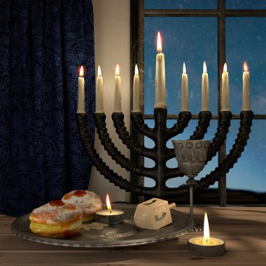 Hanukkah background with candles, donuts, spinning top