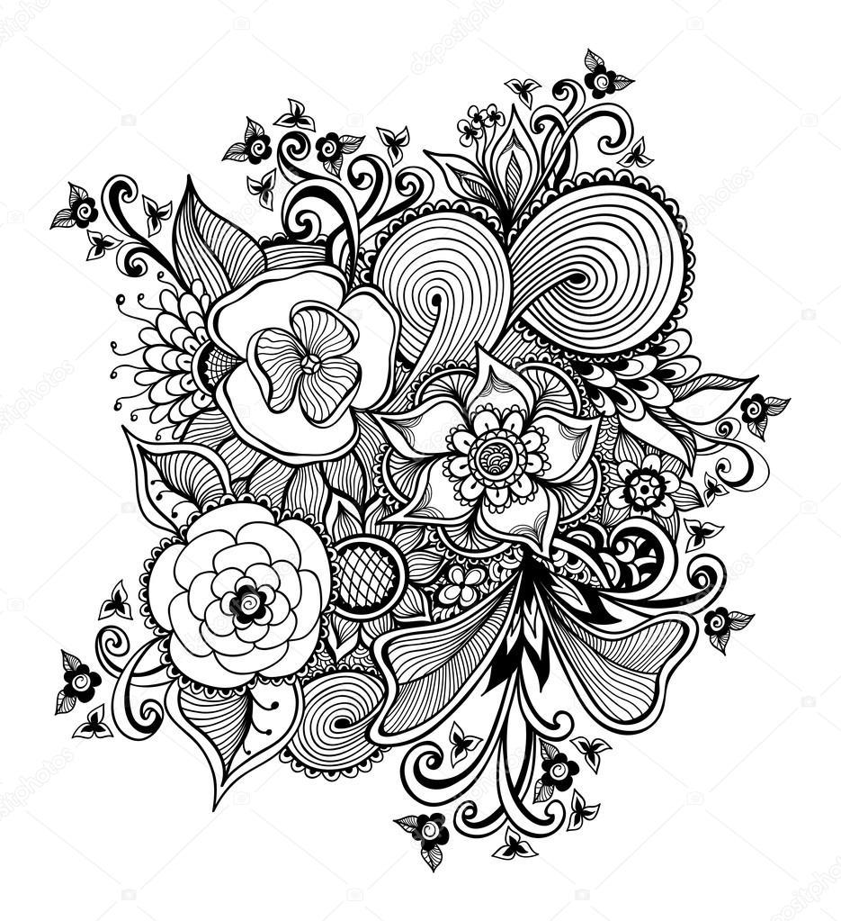 Zen-doodle-ramo de flores negras sobre fondo blanco — Archivo ...