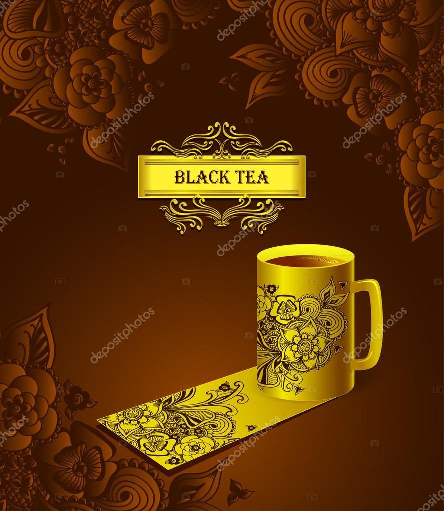 Vorlagen Paket Tasse Tee mit Zen-Doodle Blumen schwarz — Stockvektor ...