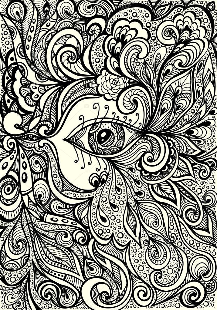 Fondo abstracto con el ojo en negro sobre blanco de estilo Zen ...