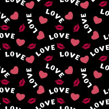 Seamless pattern with hearts lips  and inscription love on black