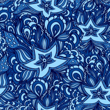 Seamless pattern with doodle starfishes in dark blue