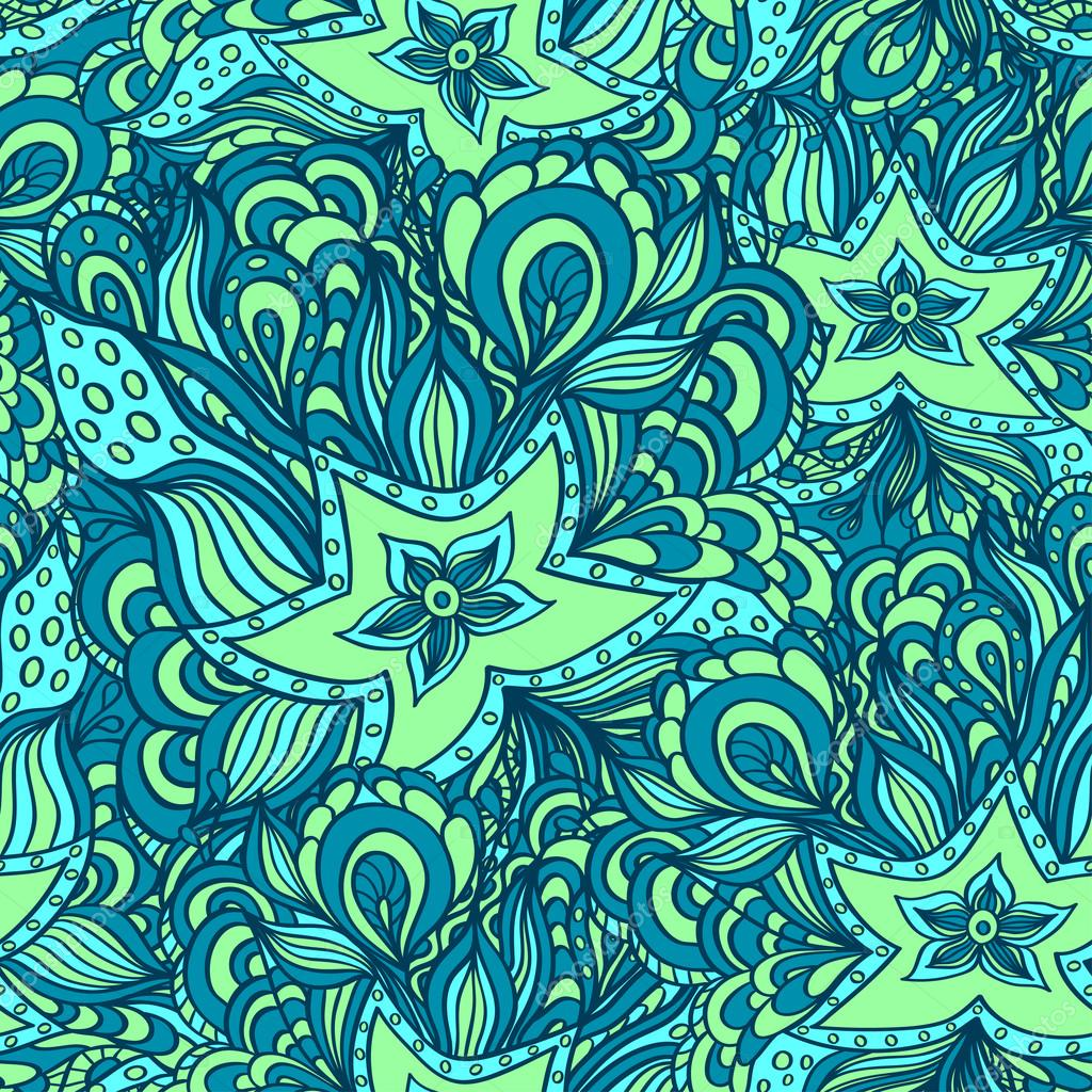Seamless pattern with doodle starfishes in blue green