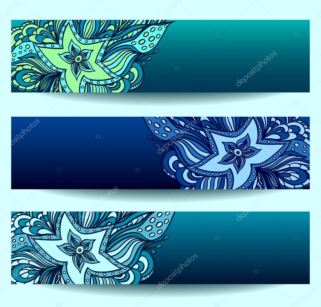 Set banners   with doodle starfishes