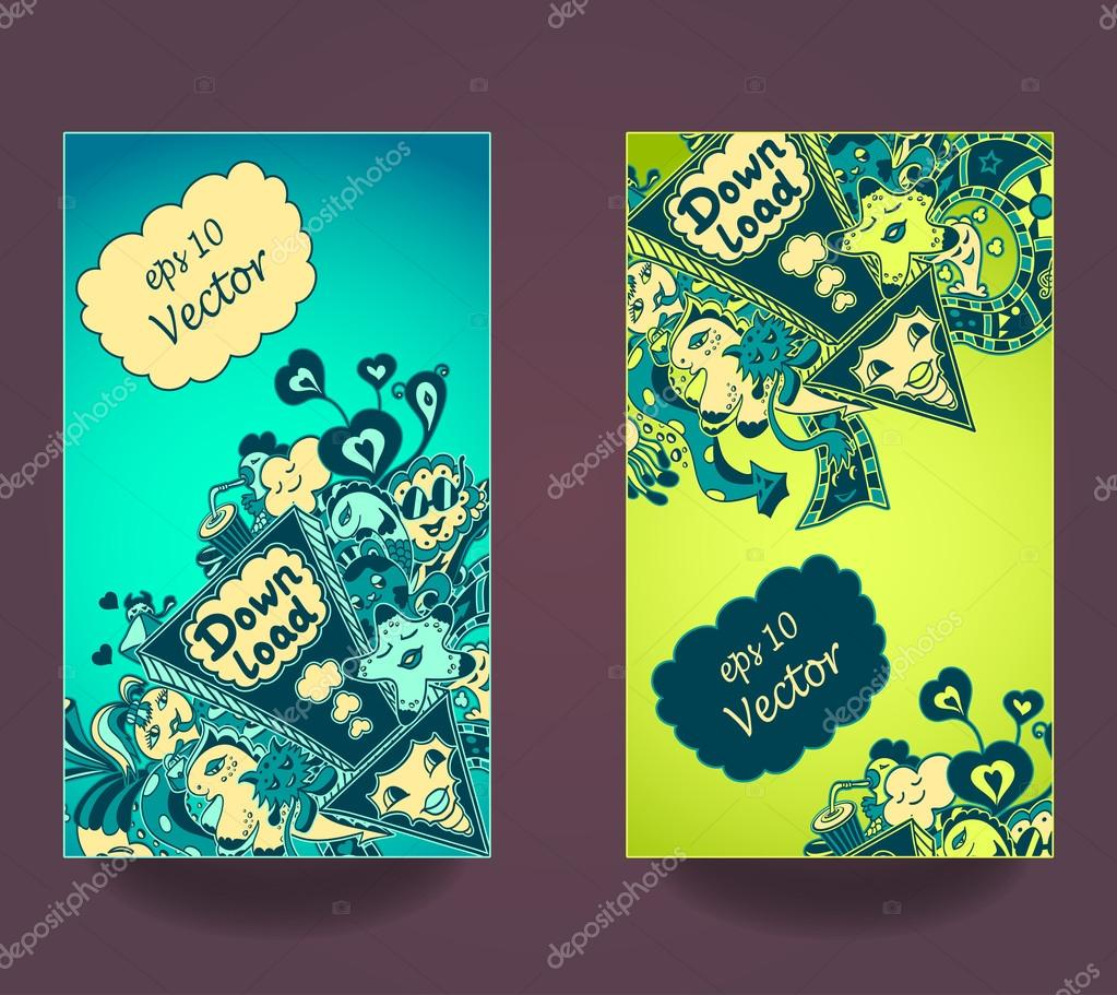 Set vertical banners  down load with doodle monsters