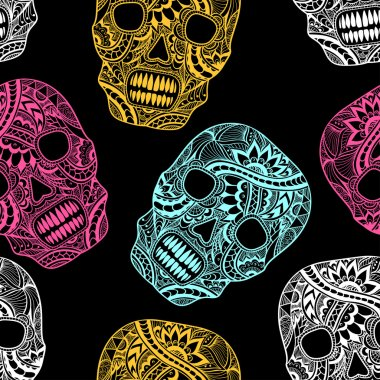 Seamless, pattern, texture,  background, template,  Decorate,  Skull, painted, ornament, lace, flowers, ribbons, leaves, floral elements,  doodles, symbol, creative, trend, gothic,   black, white,   decorated clothes,   Halloween, party,  design elem