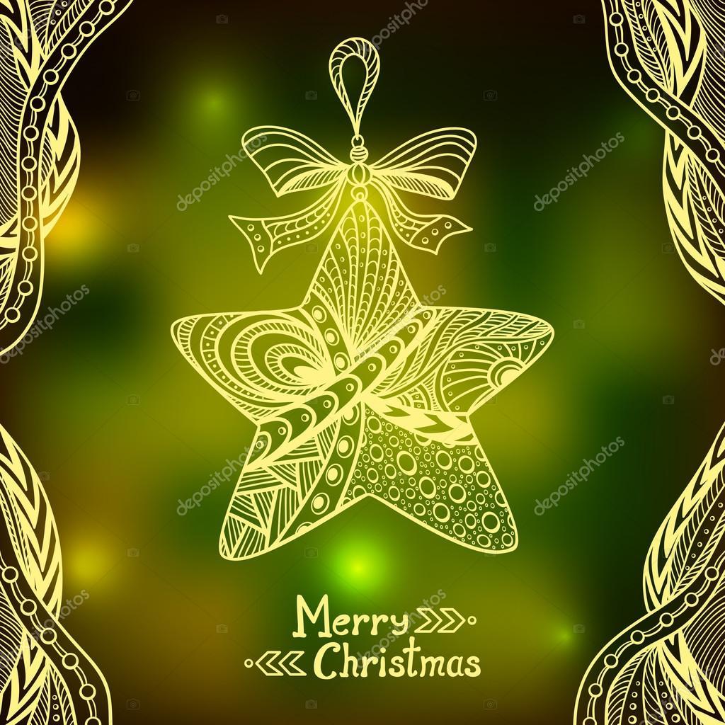 Immagini Natale Zen.Stella Di Natale In Stile Zen Doodle Sul Fondo Della