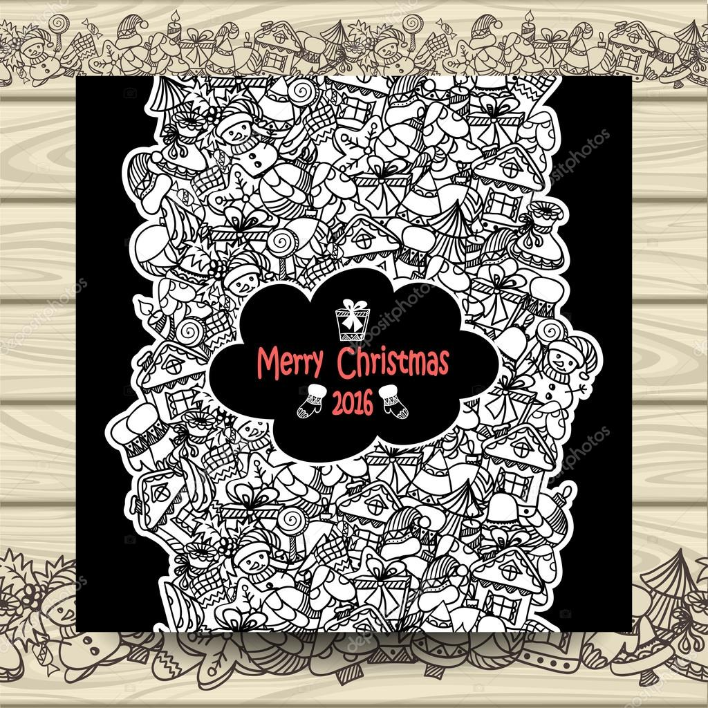 christmas vertical doodle seamless border ink pen on black with beige wood background for invitation or congratulation with merry christmas and happy new