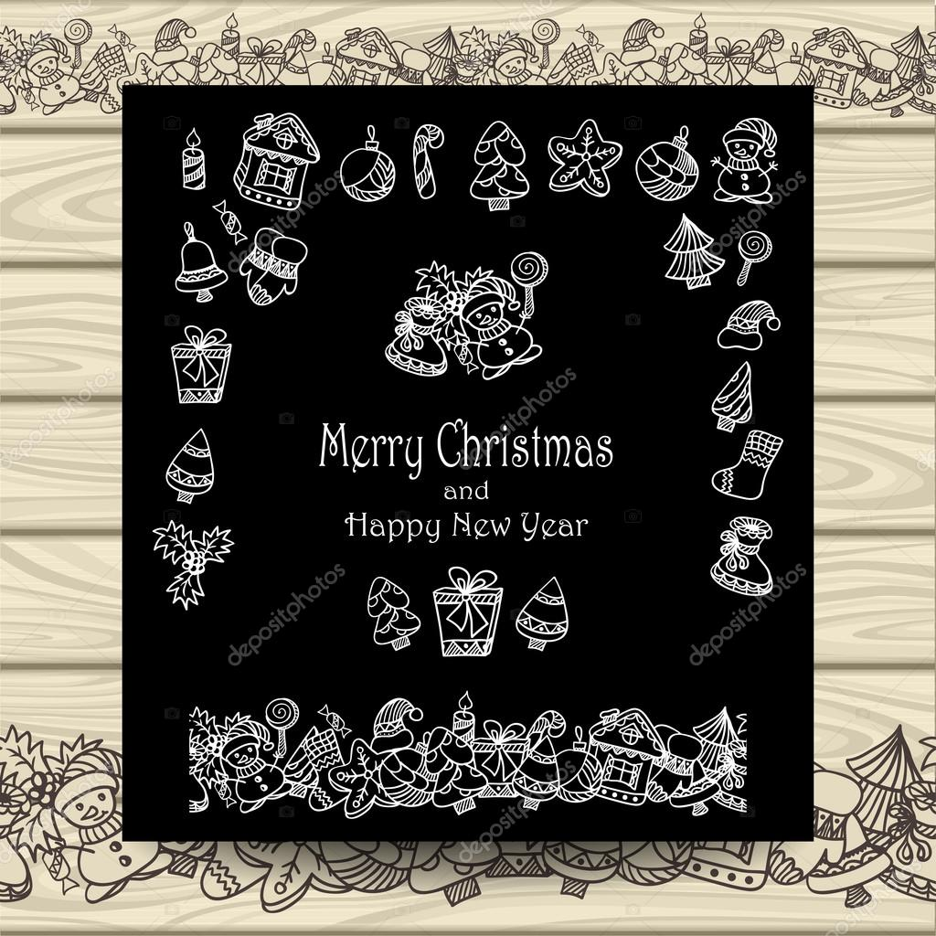 Schon Set Christmas Doodle Elements On Black With Beige Wood U2014 Vetores De Stock