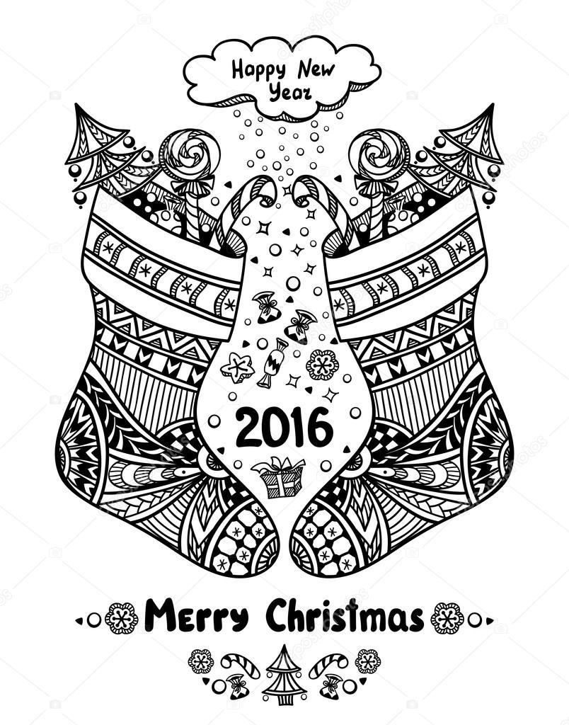 Zen Doodle Tarzı Siyah üzerine Beyaz Hediye Paketi Ile Noel Stokları