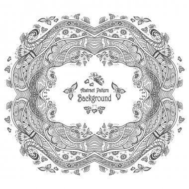 Abstract circle frame with pattern background in Zen-doodle style black on white