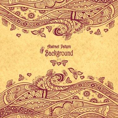 Handmade Abstract pattern background in Zen-doodle style on grunge beige