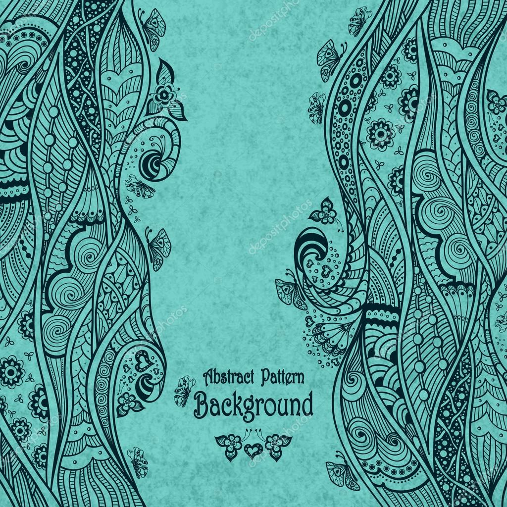Handmade Abstract pattern background in Zen-doodle style on grunge blue