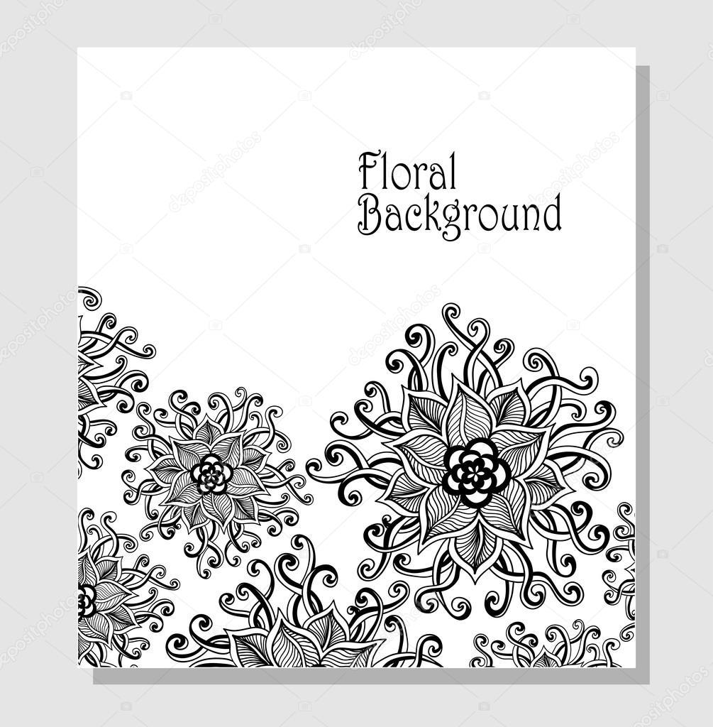 Template Zen-doodle flowers pattern  black on white