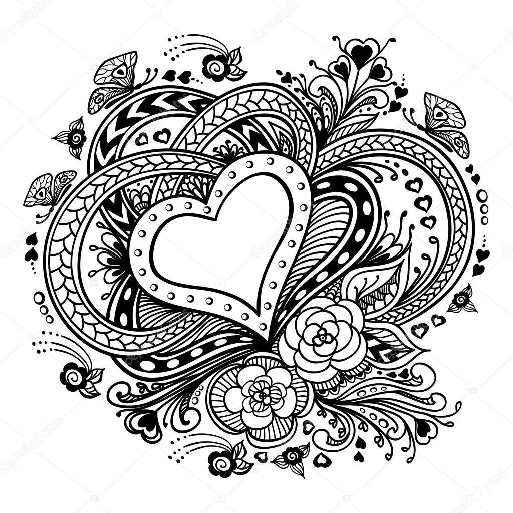 Zen-doodle corazón marco con flores mariposas negro sobre blanco ...
