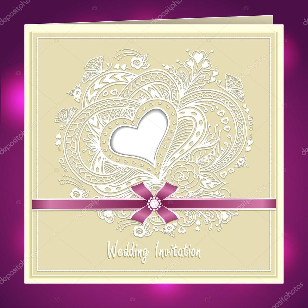 Wedding invitation with zen doodle heart frame flowers bow ribbon in wedding invitation with zen doodle heart frame flowers bow ribbon in beige stock vector stopboris Image collections