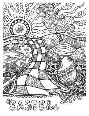 Zen-doodle Easter landscape black on white