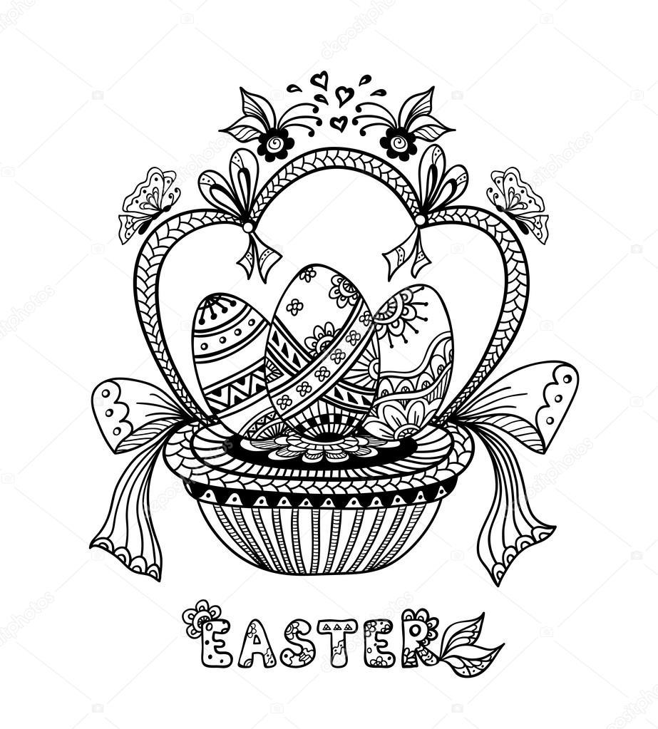 Zen-doodle huevos de Pascua en cesta negra sobre blanco — Vector de ...
