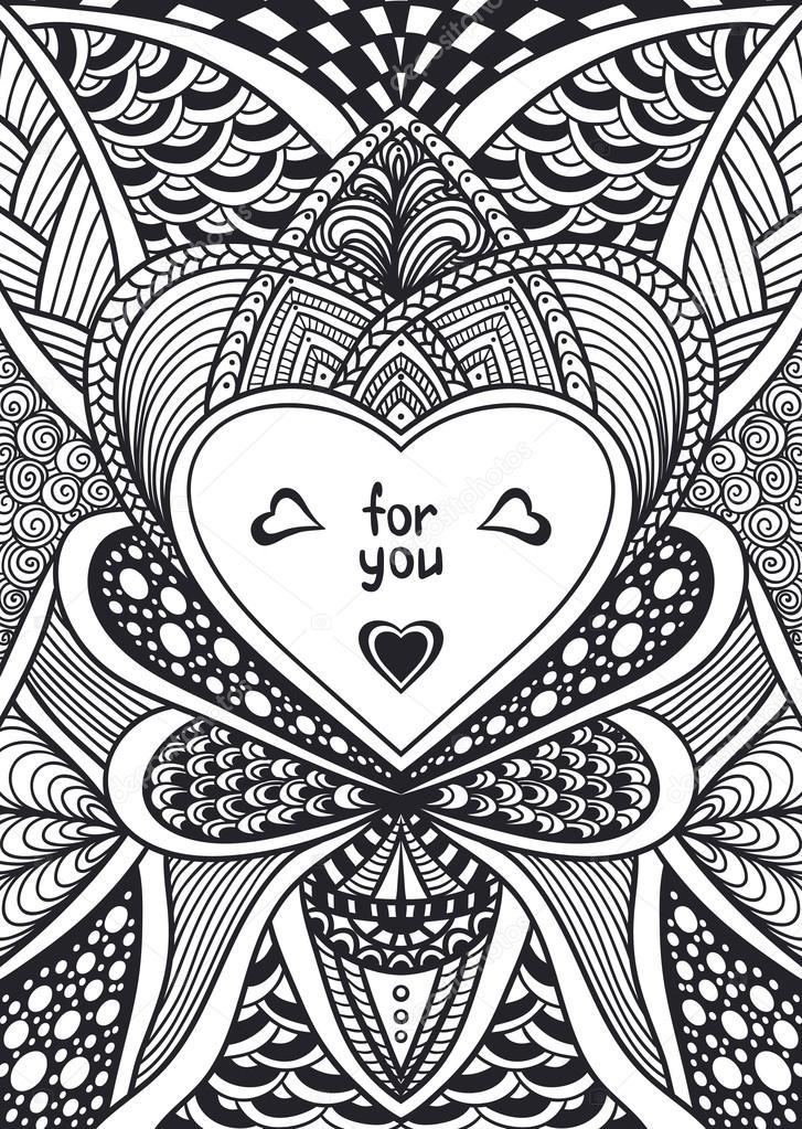 Vorlage mit Zen-Doodle Style Muster und Herz Rahmen schwarz auf weiß ...