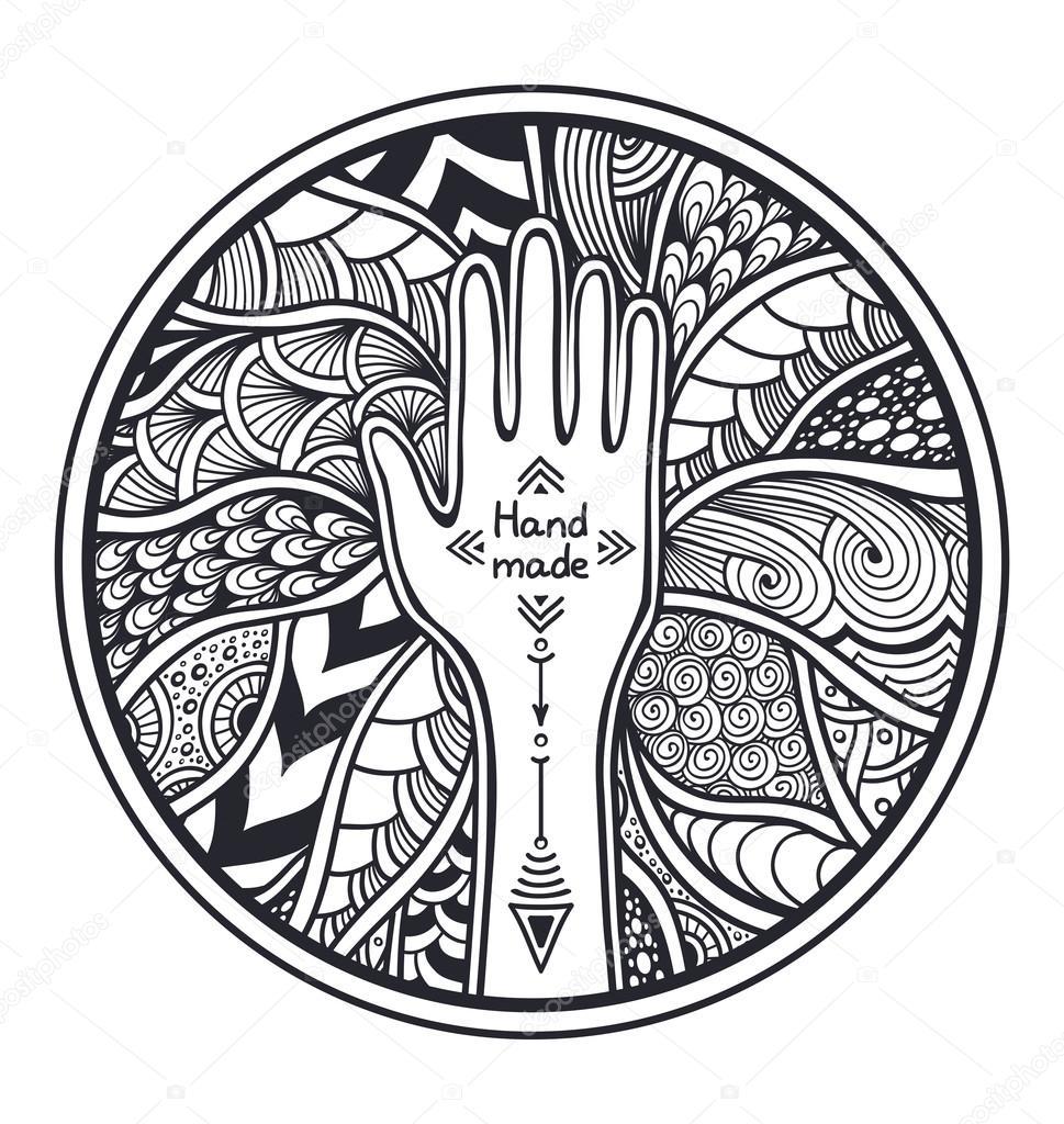 Zen-Wirrwarr oder Zend-Doodle Kreis-Frame von Hand Schwarzweiß ...