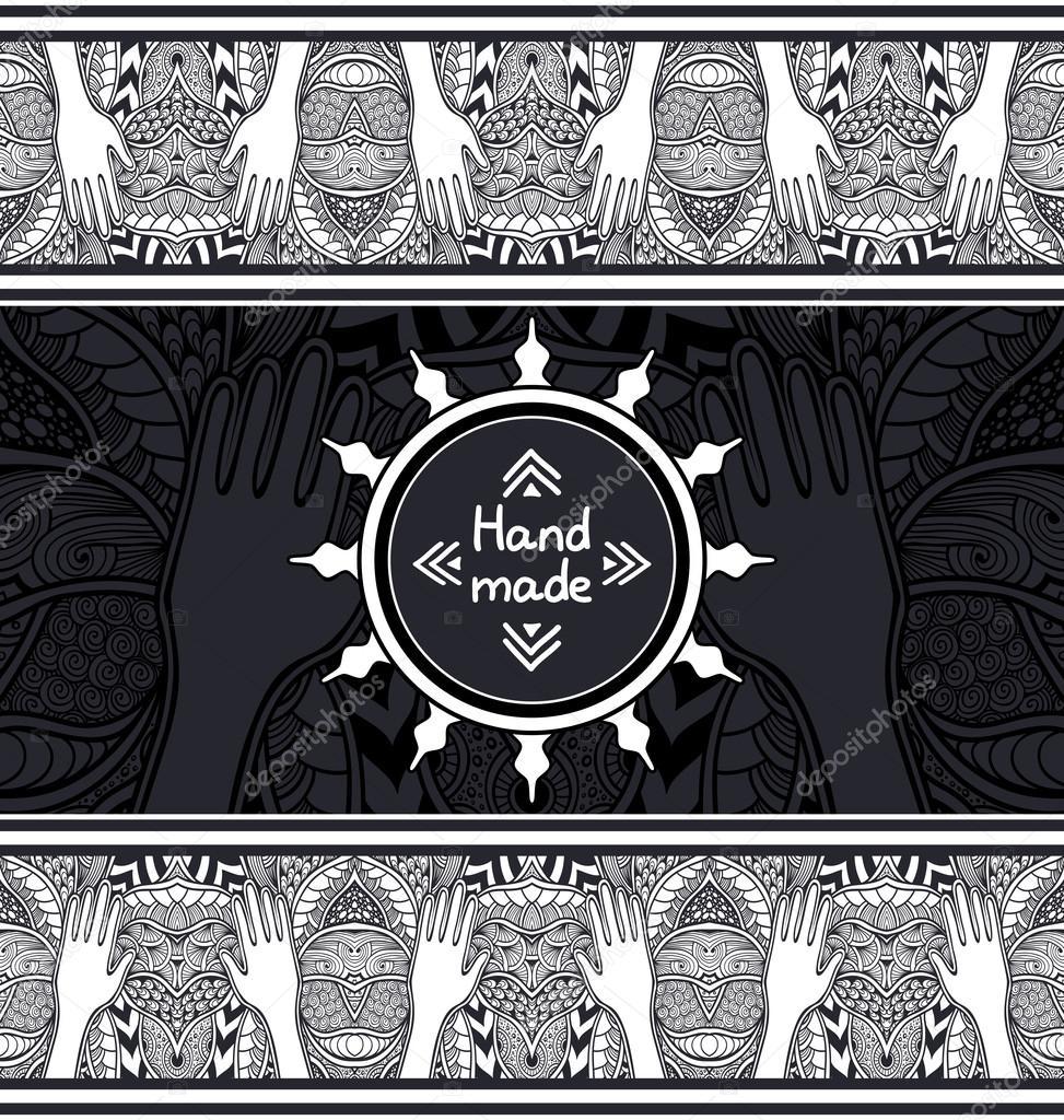 Zen-Wirrwarr oder Zend-Doodle-Vorlage mit Hände schwarz und weiß ...