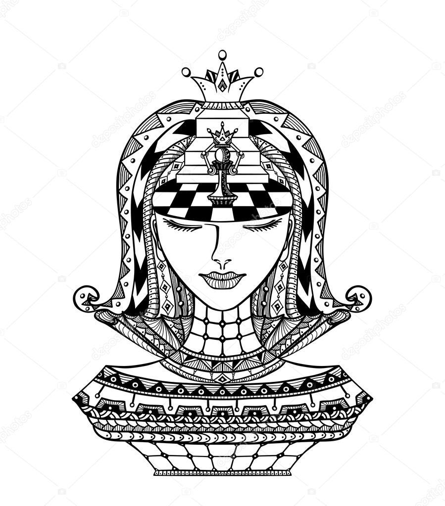Satranç Zen Dolaştırmak Kız Siyah Beyaz Stok Vektör Kulikoks