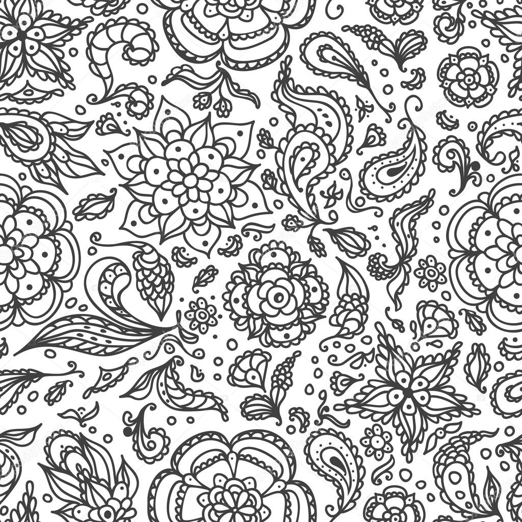 Seamless abstract floral pattern with flowers, petals, leaves, seeds, plants  in black white for coloring page or for relax coloring book