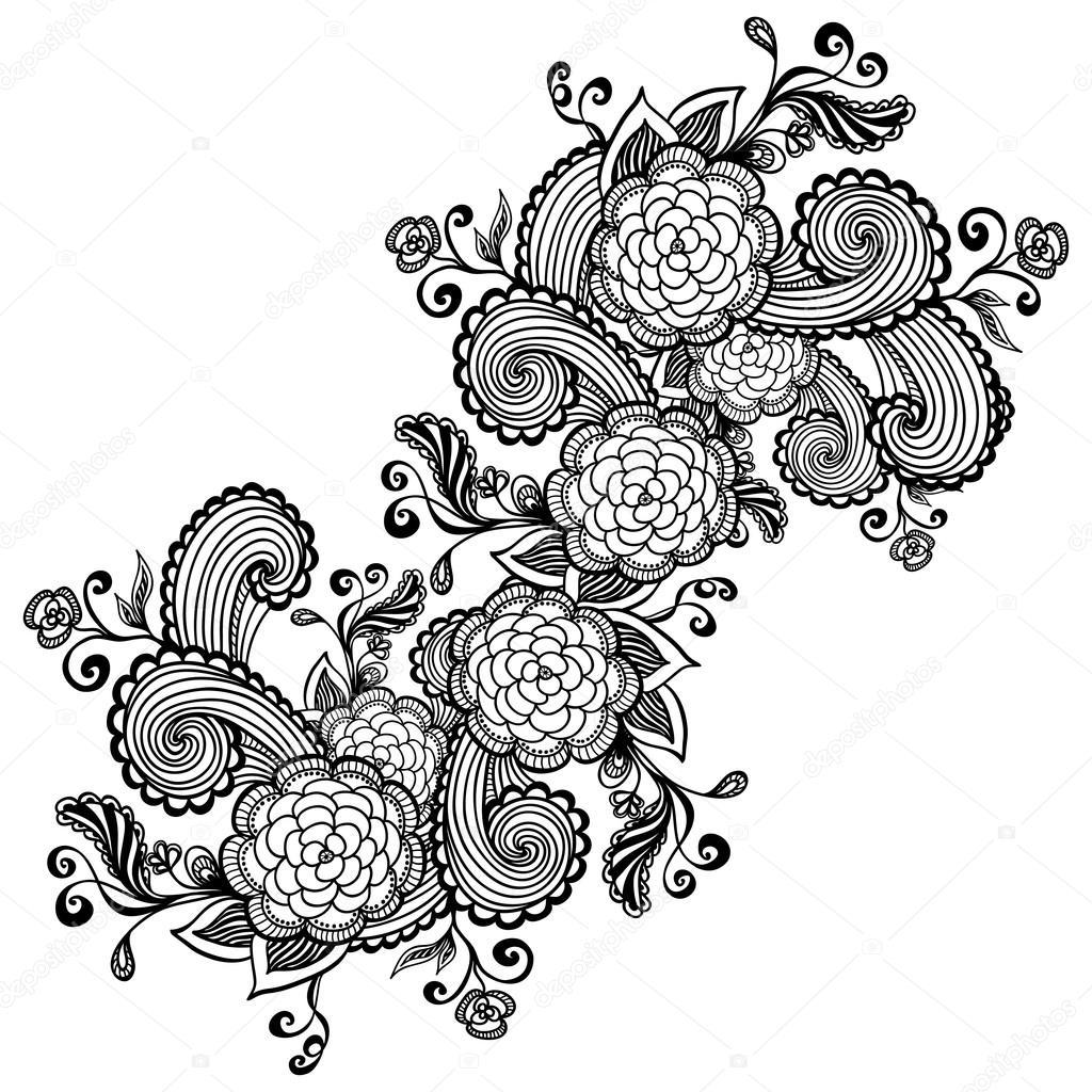 Coloriage Fleur Zen.Fleurs Zen Griffonnage Noir Sur Blanc Pour Le Paquet Ou Pour
