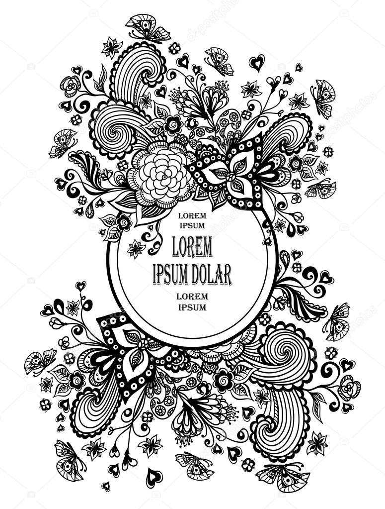 Zen-doodle Rahmen mit Blumen Schmetterlinge Herzen schwarz auf weiß ...