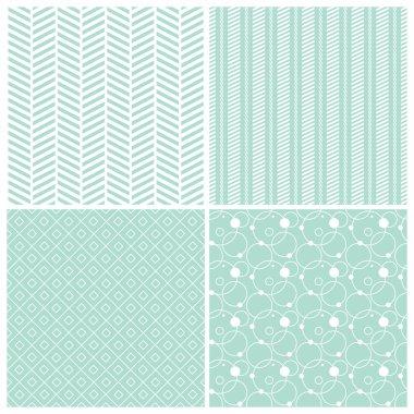 Mint geometric seamless patterns: chevron, stripes, dots, circles, squares, grid, vector illustration clip art vector