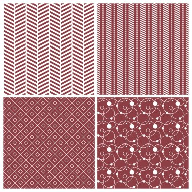 geometric seamless patterns, red