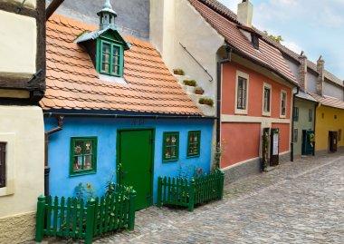 """Картина, постер, плакат, фотообои """"крошечные разноцветные дома в золотом переулке """", артикул 59381553"""