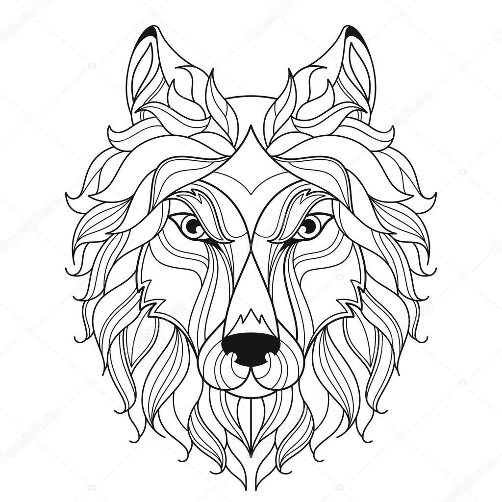 wolf hoofd zentangle gestileerd kleurplaat pagina