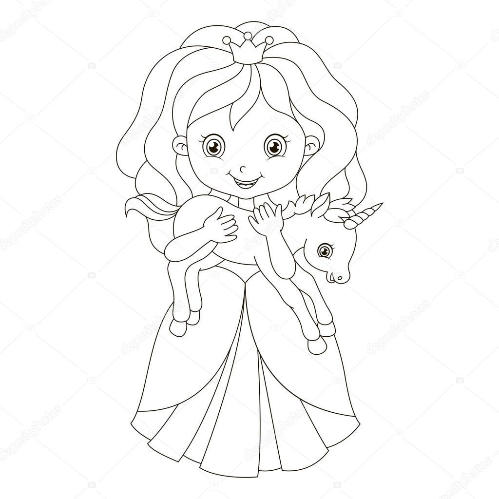 Illustratie Van Een Prachtige Prinses Met De Baby Eenhoorn