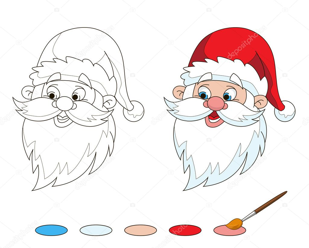 Santas Head Coloring Page Stock Vector C Angle 92864614