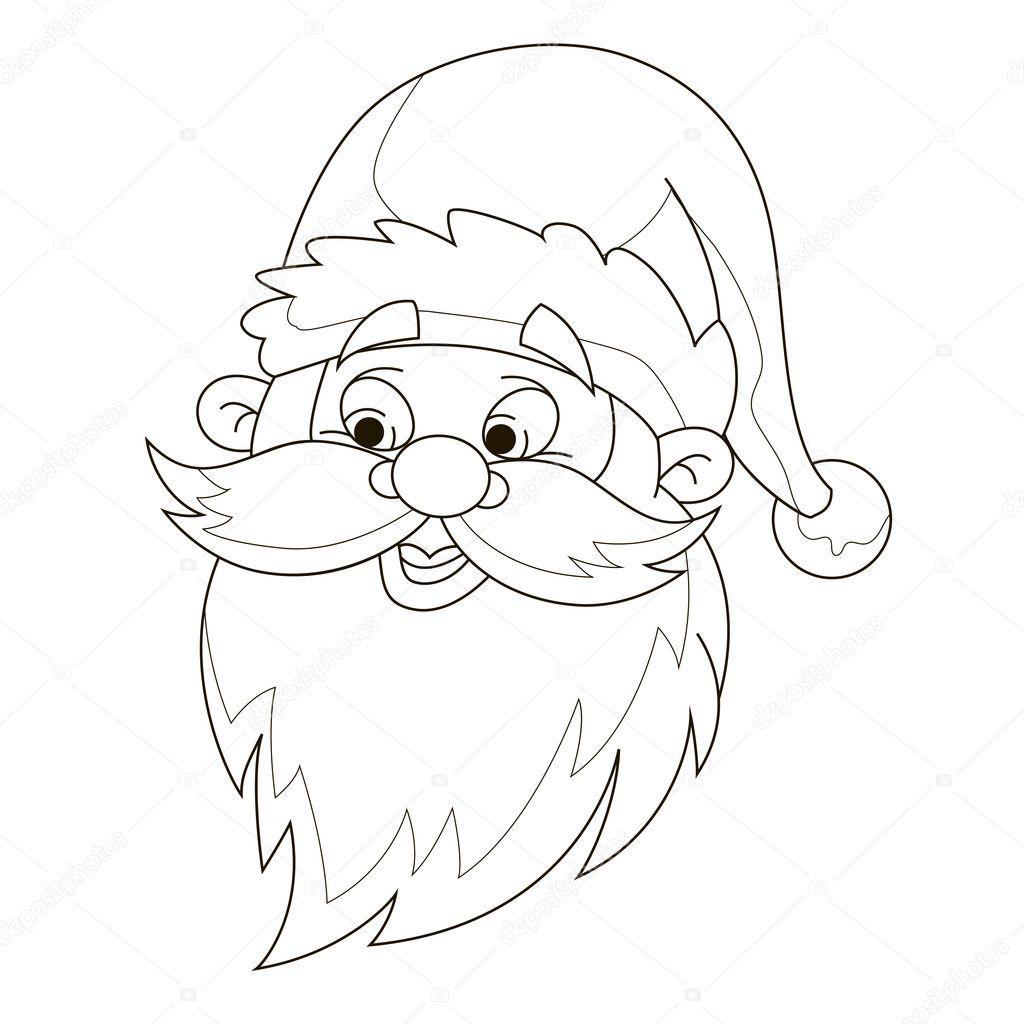 Testa Di Babbo Natale Da Colorare Pagina Vettoriali Stock Angle