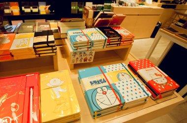 Doraemon cat from Japanese manga series on the cover of Moleskine notebook