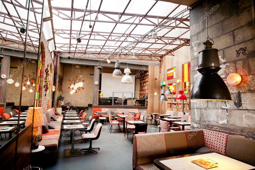 interior design of a modern restaurant stock photo