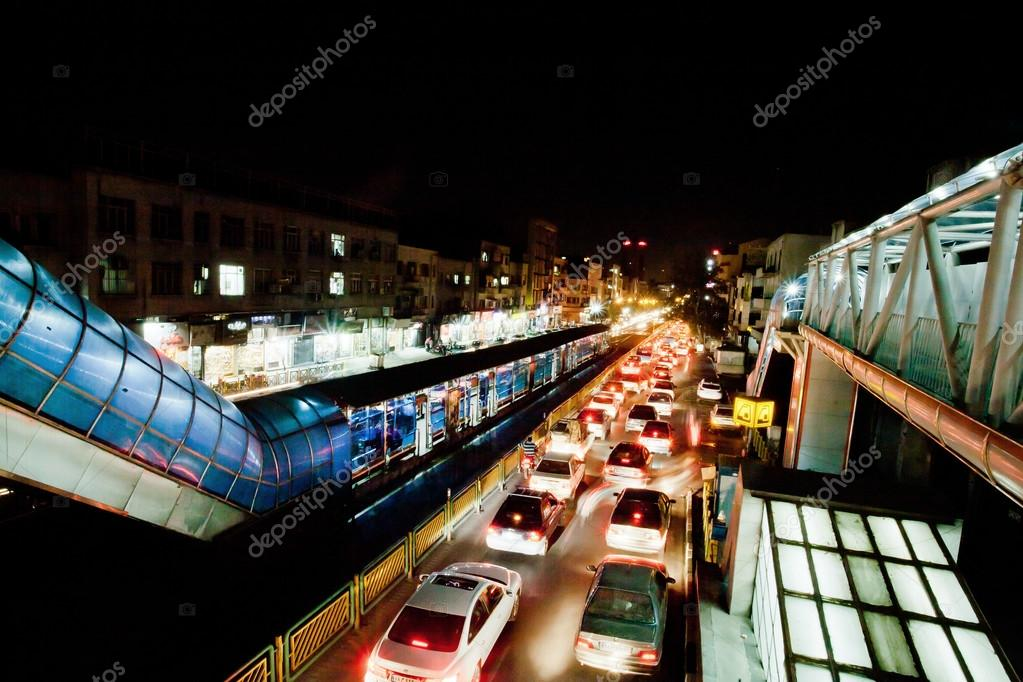 Transport traffic with lights of night urban city