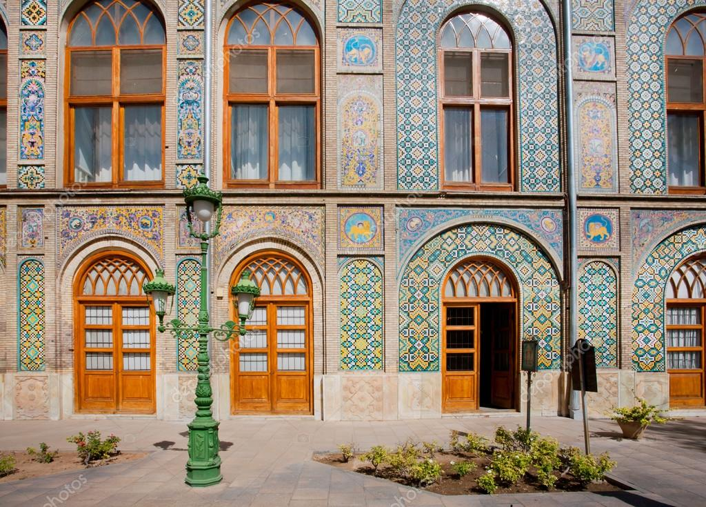 Patterned walls and wooden doors of the royal palace Golestan in Tehran Iran. Golestan Palace is the oldest groups of buildings in persian capital ... & Patterned walls and wooden doors of the royal palace Golestan in ... pezcame.com
