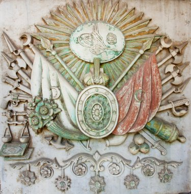 Ottoman Empire coat of arms in bas-relief