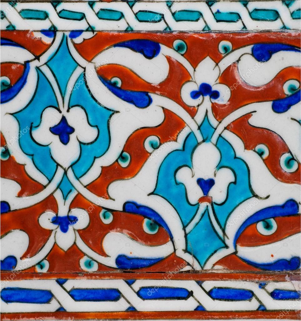 Fragment of patterned walls with ceramic tiles in Ottoman style ...