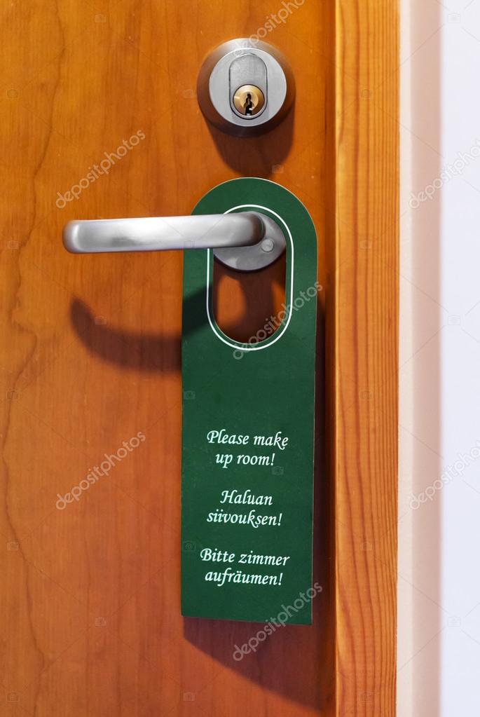 Please make up room sign hanging on door knob. — Stock Photo ...