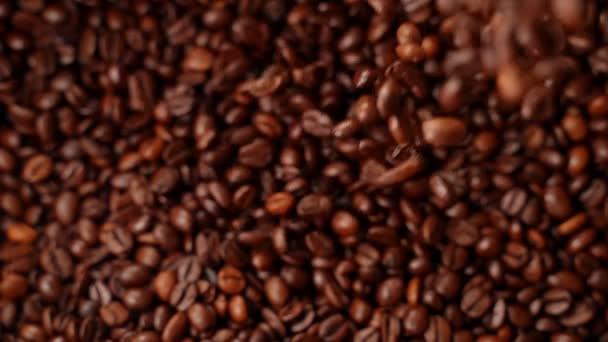 Roasted coffee falling, Slow motion.