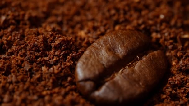 Makro pohled na kávové zrno a mletou kávu.