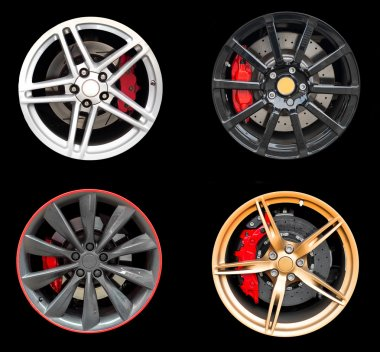 Collage of Four car rims isolated on black background.
