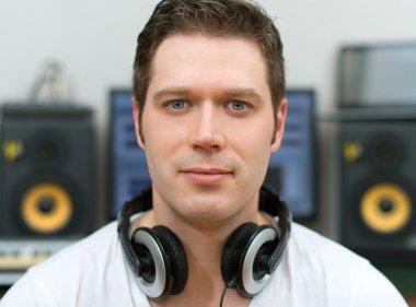 Male sound producer in recording studio. stock vector