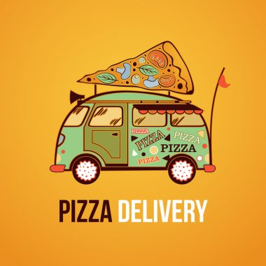 Pizza food truck city car