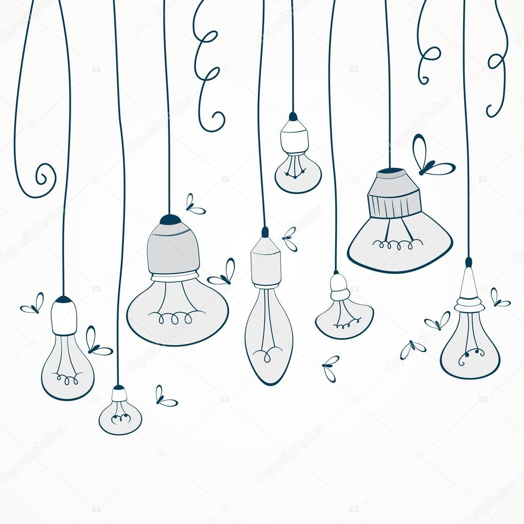 hanging light bulbs u2014 stock vector