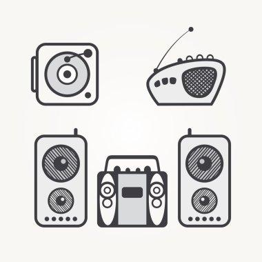 Radio icons isolated